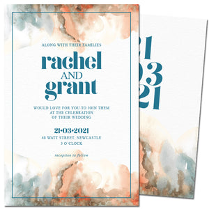 ombre orange brown blue wedding invitation 1