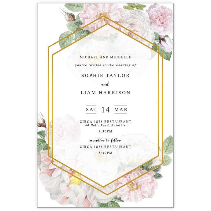 floral wedding invitation with white roses and pink flowers