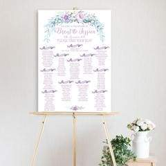 wedding table seating chart, table seating plan, wedding reception, water colour peonie, flower, bouquet