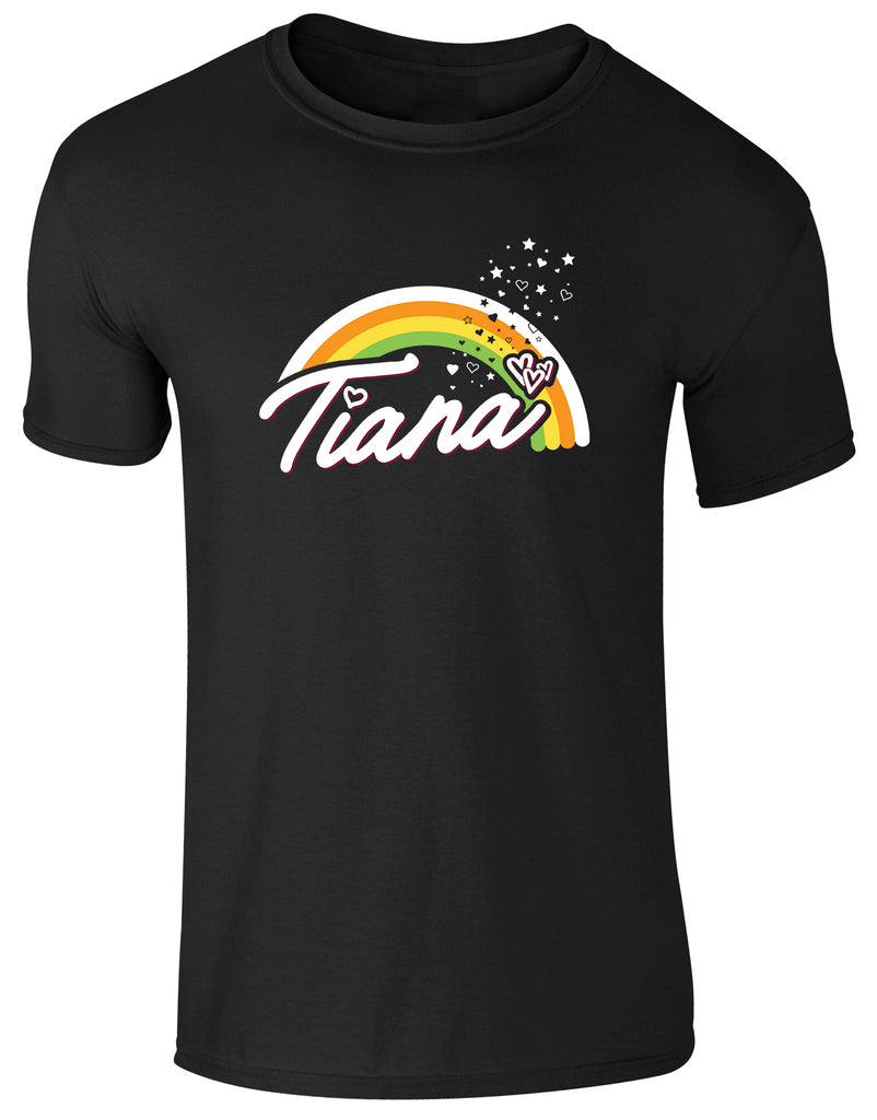 Hearts By Tiana - Rainbow Print T-Shirt in Black