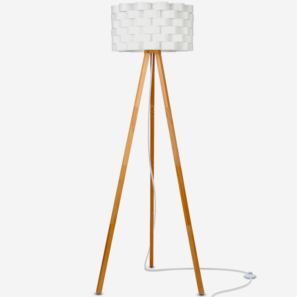 Bijou - LED Tripod Floor Lamp for Modern Living Rooms - Natural Wood Color Bijou LED Floor Lamp: Living Room Standing Adjustable Contemporary