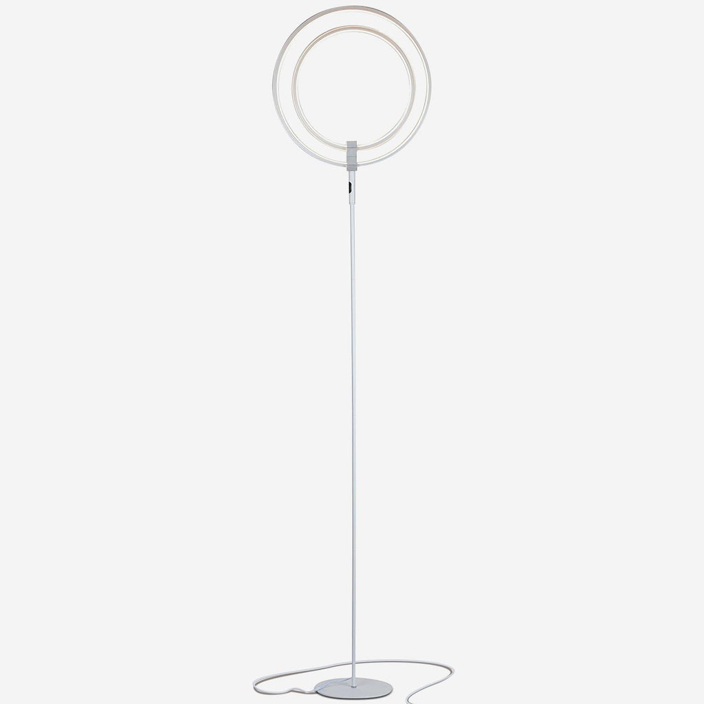 Silver Eclipse LED Floor Lamp: Tall Reading Lamp With a Modern Twist Ambience
