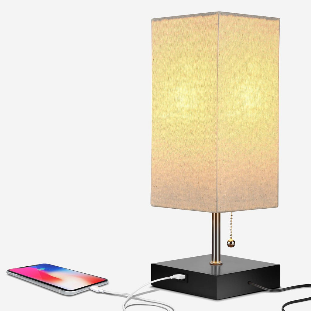 Classic Black Grace USB Table Light: Modern Lamp for Bedrooms and Living rooms
