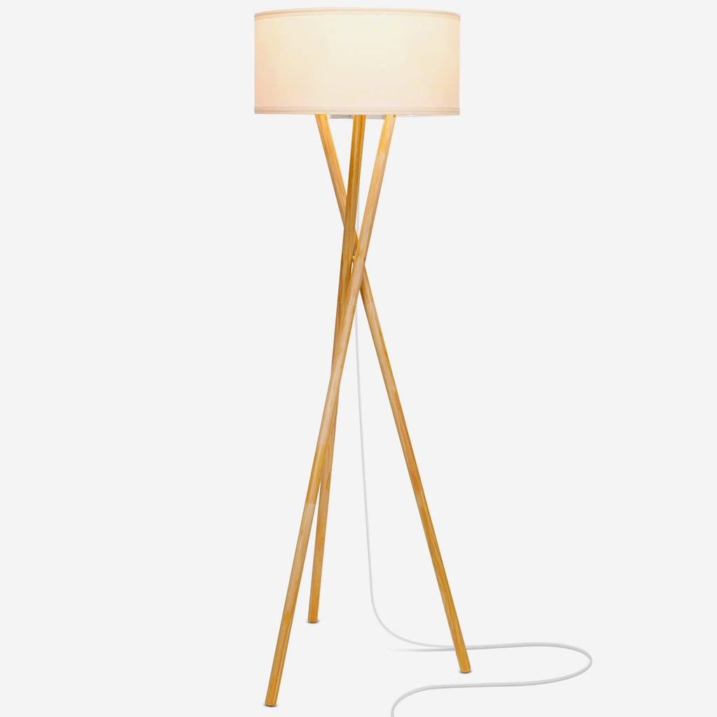 Harper Wood Tripod Led Floor Lamp Mid Century Modern Light