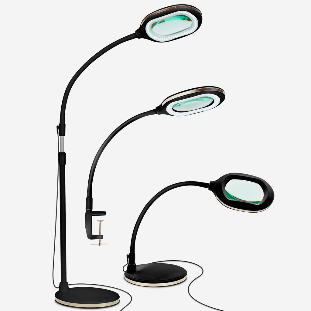 Black Lightview Pro 3 in 1 LED Magnifying Glass Floor Lamp- Desk and Table