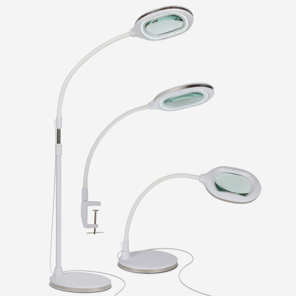 White Lightview Pro 3 in 1 LED Magnifying Glass Floor Lamp- Desk and Table