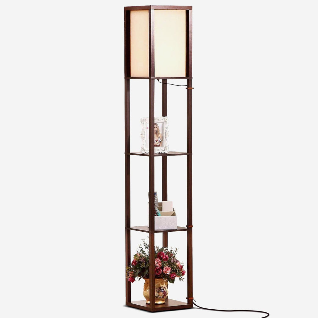 Havanah Brown Maxwell LED Shelf Lamp - Floor Standing Modern Light w. Display Shelve