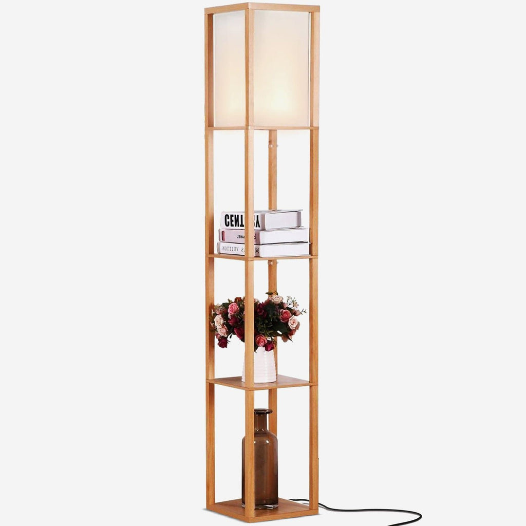 Natural Wood Maxwell LED Shelf Lamp - Floor Standing Modern Light w. Display Shelve