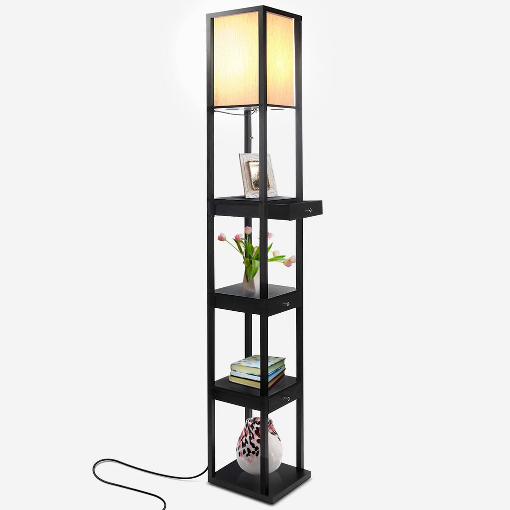 Classic Black Maxwell Drawer Floor Lamp: Tall Freestanding Shelf Light Soft Ambience