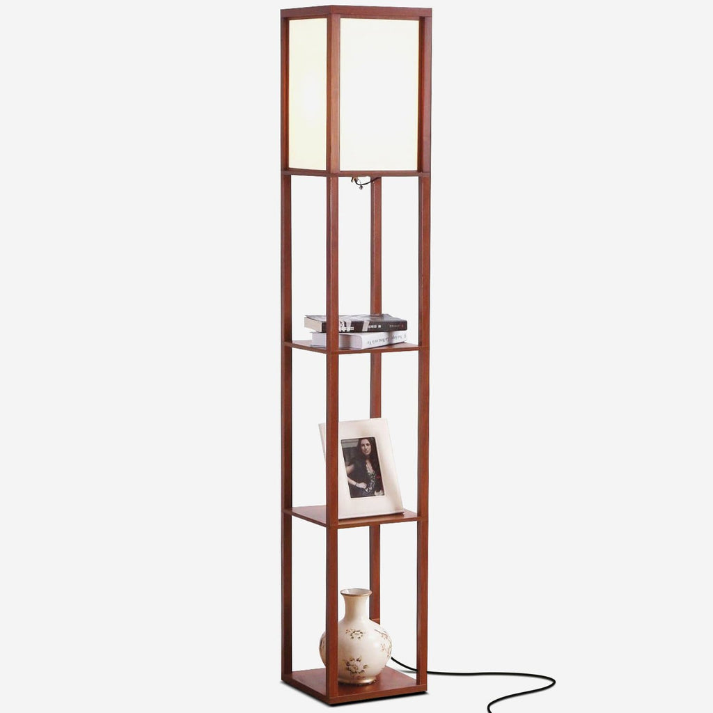 Walnut Brown Maxwell LED Shelf Lamp - Floor Standing Modern Light w. Display Shelve