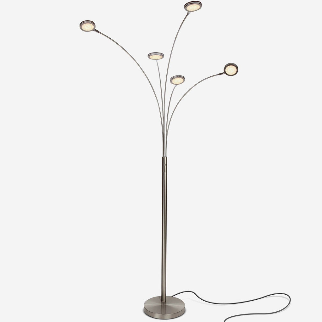 Satin Nickel Orion 5 LED Floor Lamp: Tree Branch Sci-fi Outwardly Facing