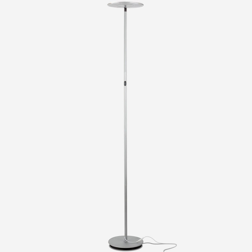Platinum Silver SKY Flux LED Torchiere Floor Lamp Living Room & Office, Light Dimmabl