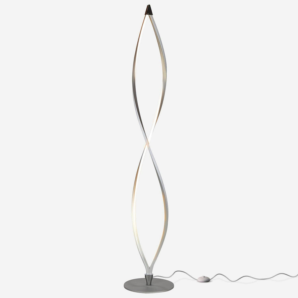 Platinum Silver Twist - LED Floor Lamp - Unique & Modern, Dimmable