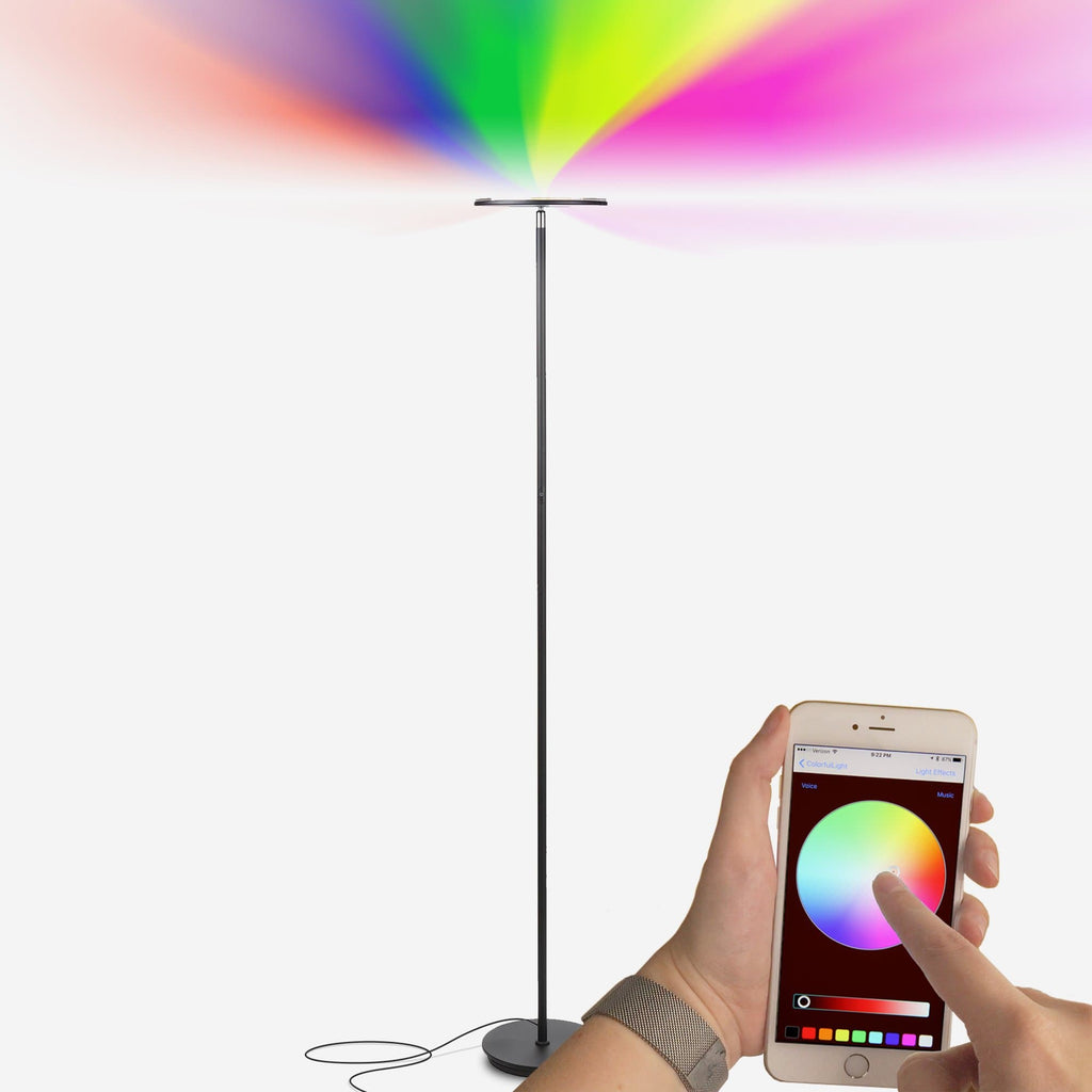 Kuler Sky - Color Changing Torchiere LED Floor Lamp, Bright & Dimmable Kuler Sky iOS Remote Control Color Changing Floor Lamp - LED Torchiere