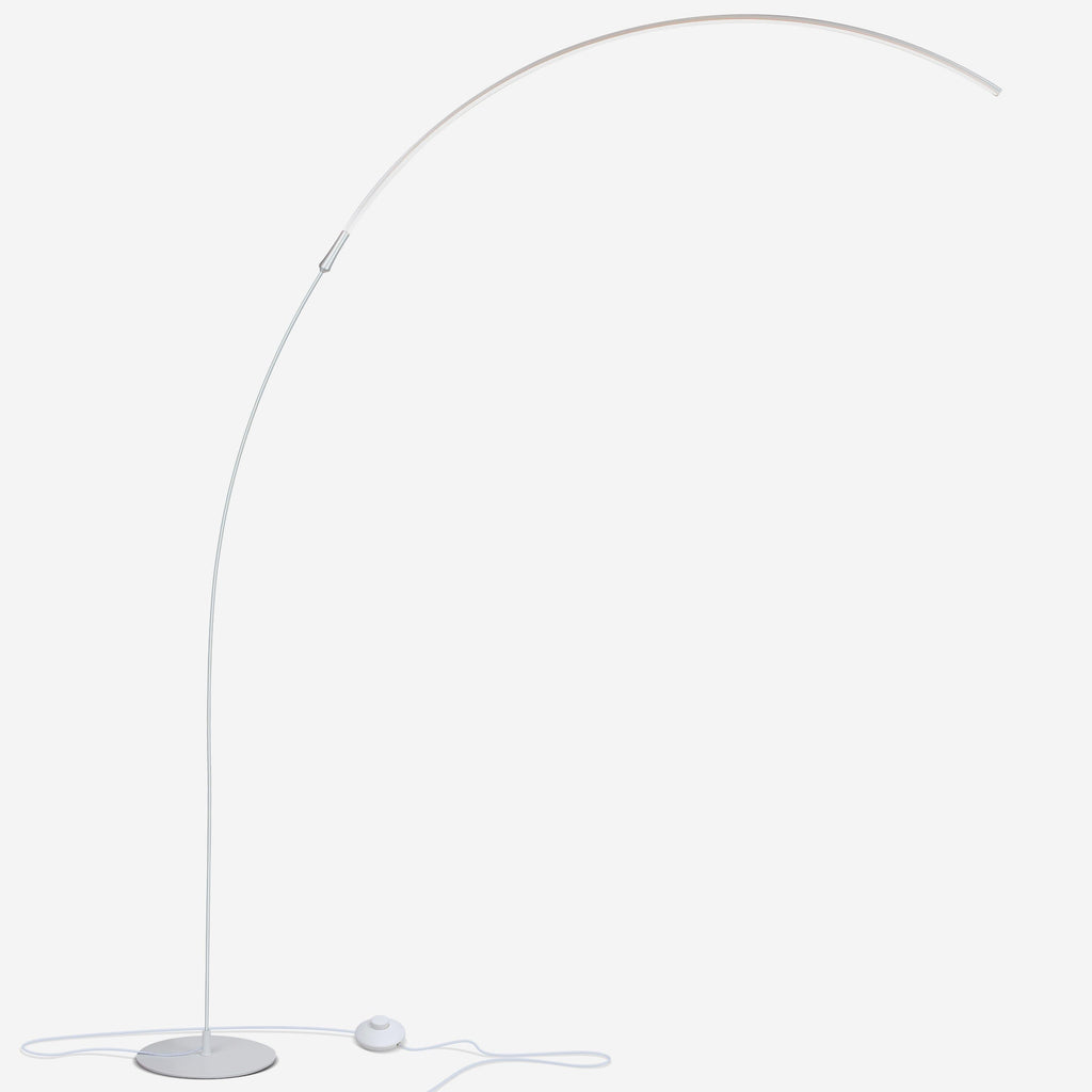 Silver Sparq - Arc LED Floor Lamp: Over The Sofa, Living Room Light, Dims