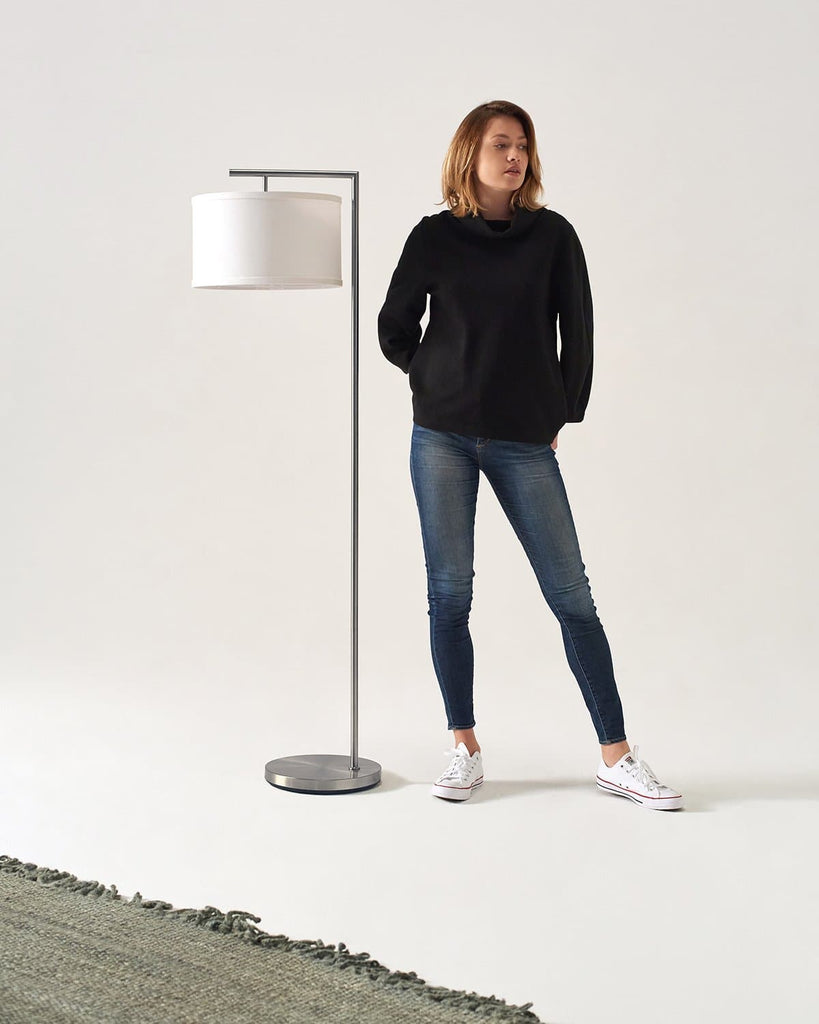 Satin Nickel Montage Modern Floor Lamp: Classic Pole Arc Light For Reading