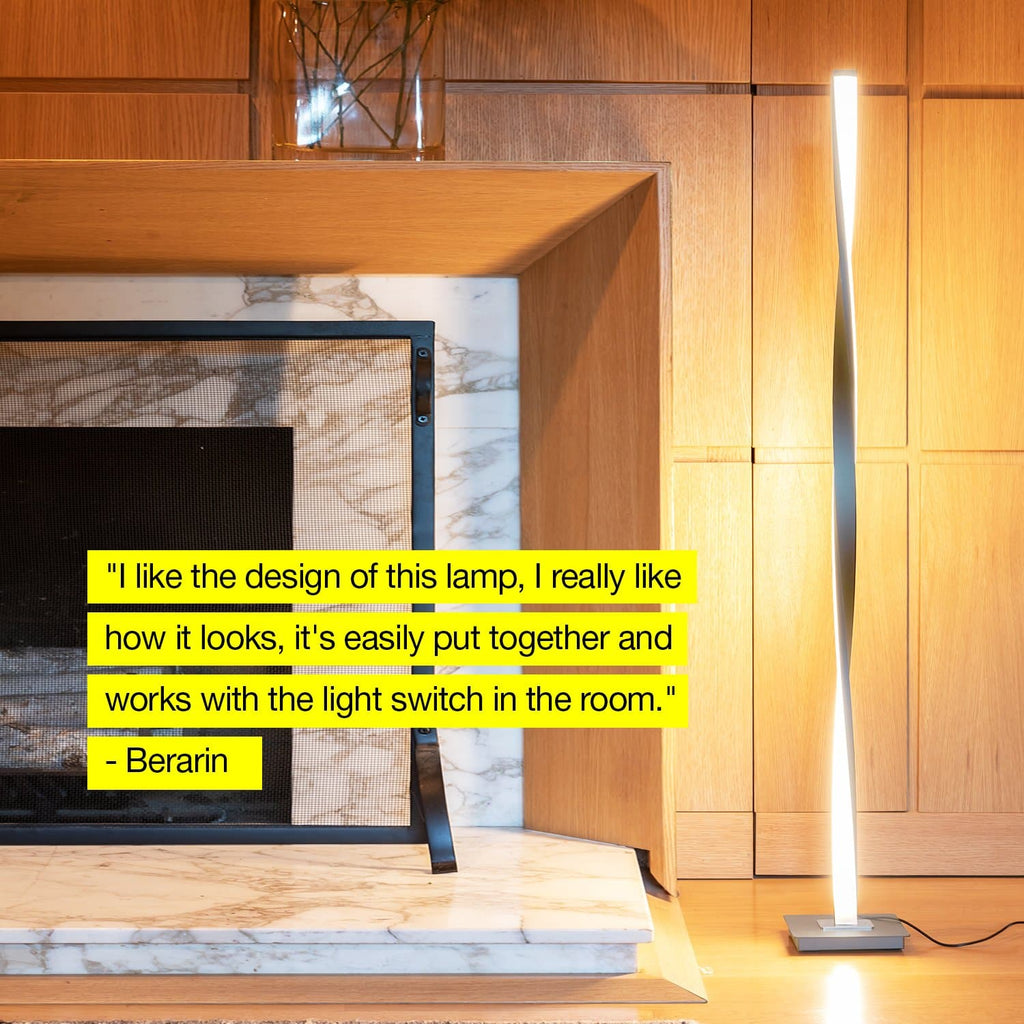 Silver Helix LED Floor Lamp: Modern Arc Light Adjustable Tall Pole Standing