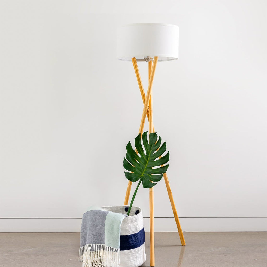 Harper - Wood Tripod LED Floor Lamp – Mid Century Modern Light Harper LED Lamp: Tripod Mid-Century Intersecting Leg Design