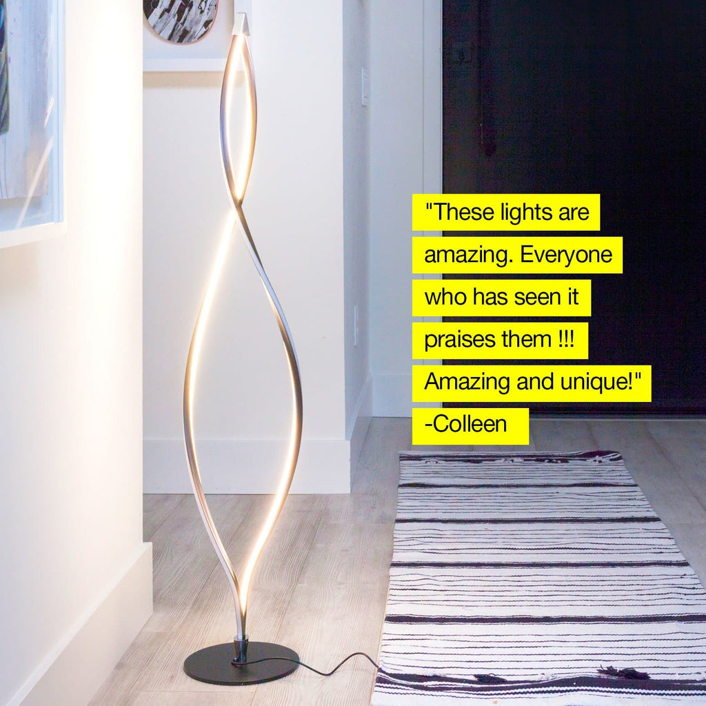 Classic Black Twist - LED Floor Lamp - Unique & Modern, Dimmable