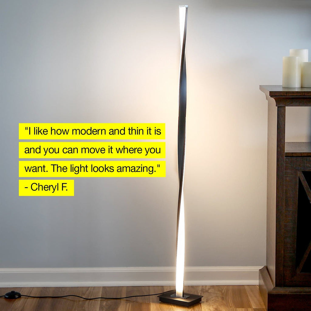 Black Helix LED Floor Lamp: Modern Arc Light Adjustable Tall Pole Standing
