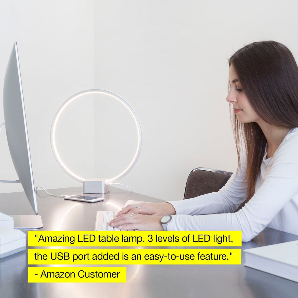 White Circle USB LED Table Light: Futuristic desk lamp for bedrooms
