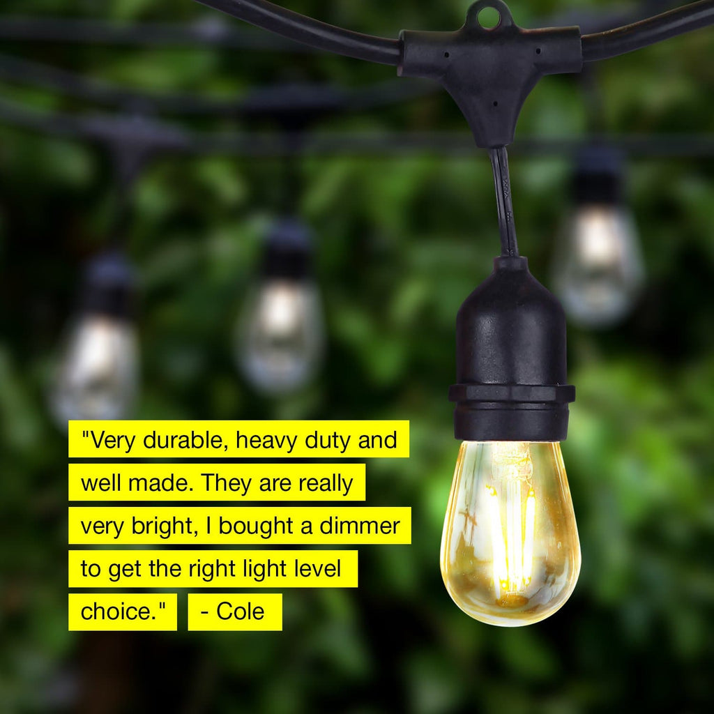soft white Ambience Pro Outdoor String Lights: LED Bistro, Cafe Edison Light 2W