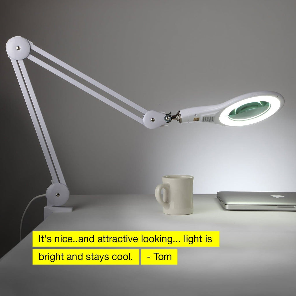 White - 5 Diopter Lightview Clamp LED Magnifier: Perfect for Sewing, Knitting, Quilting