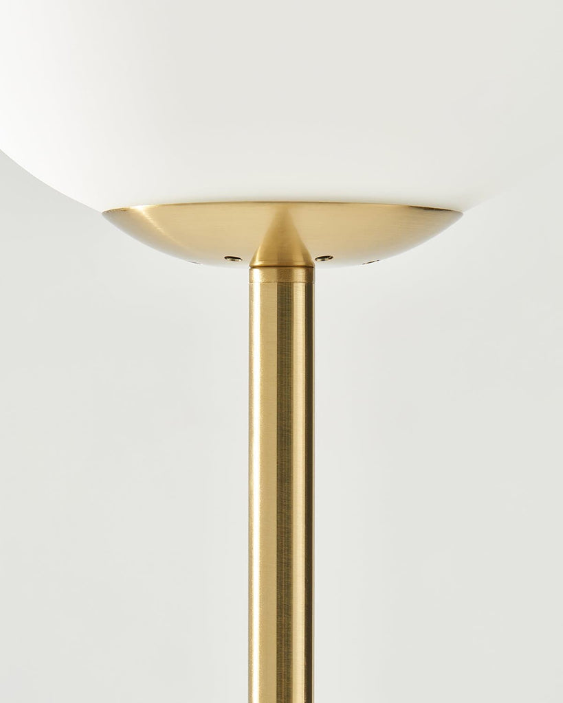 Antique Brass Luna LED Floor Lamp: Modern Pole Light for Living and Dining Rooms