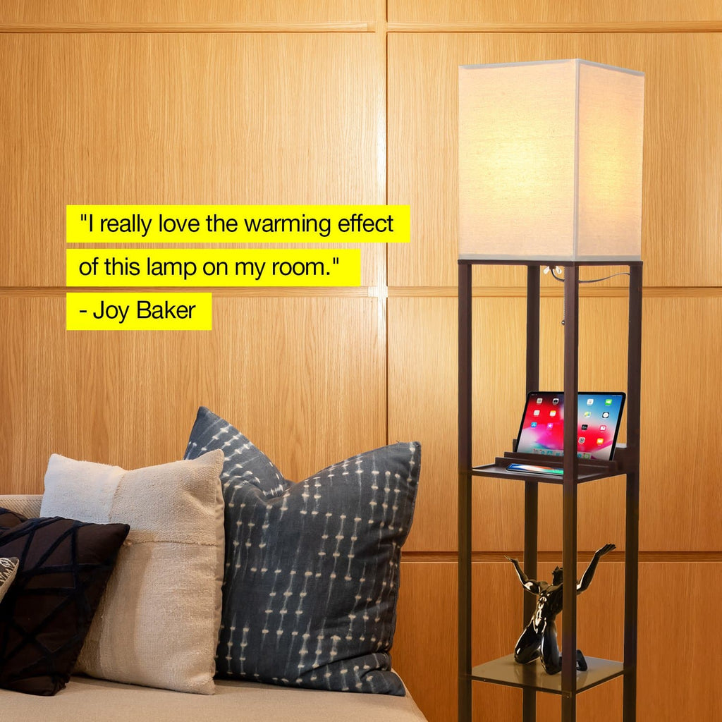 Brown Maxwell USB Floor Lamp: Tall Freestanding Shelving Lighting Unit