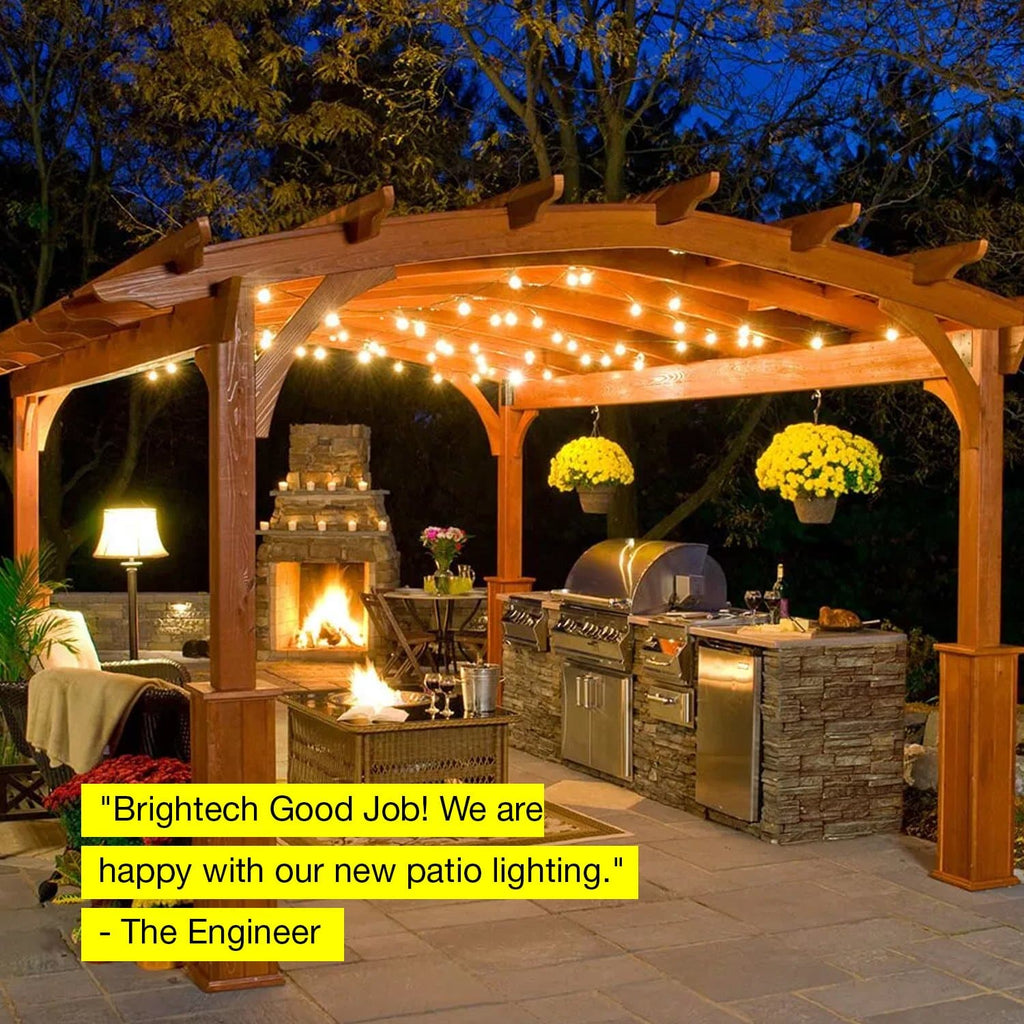 24 ft Ambience Pro Outdoor String Lights: LED Bistro, Cafe Edison Light 2W
