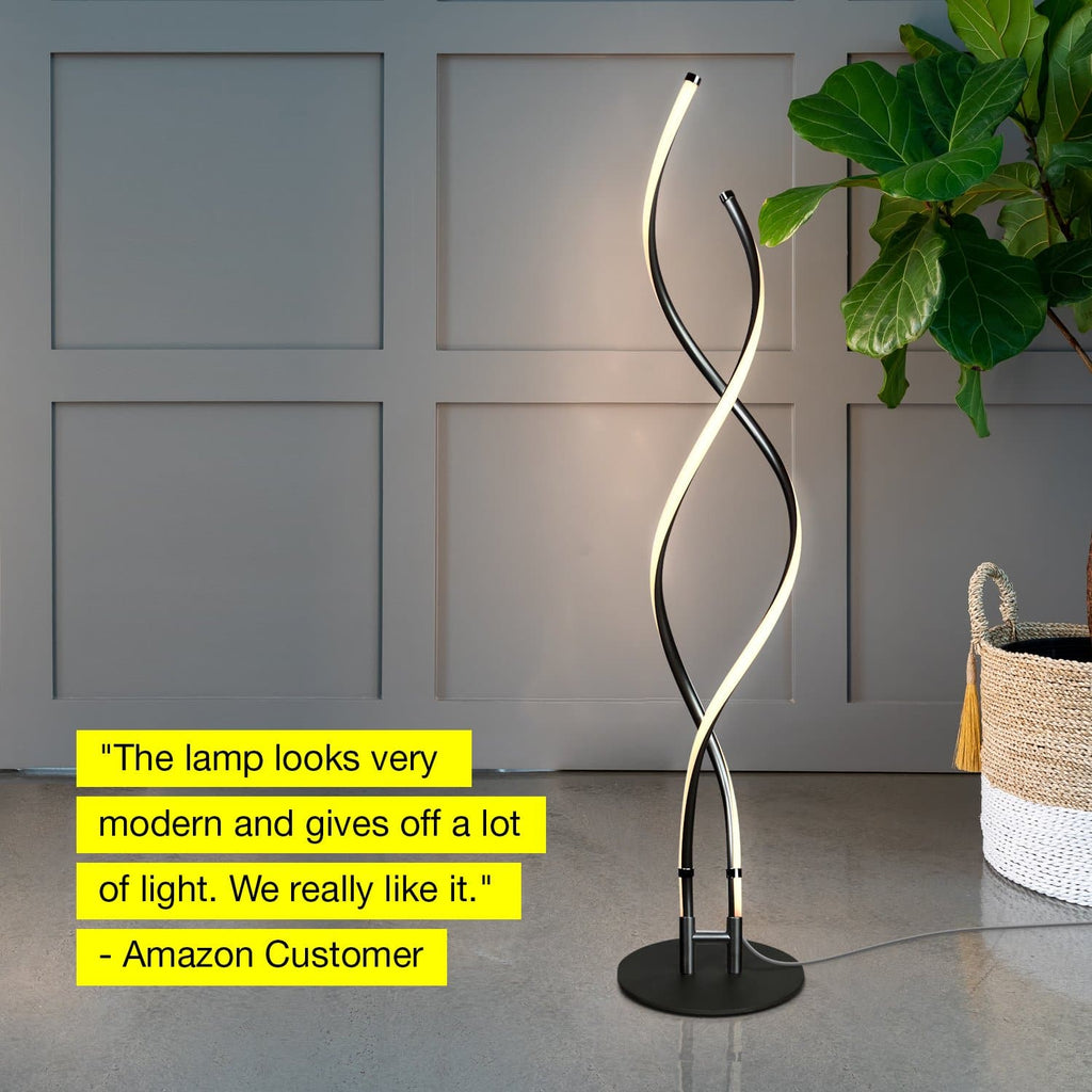 Classic Black Embrace – Modern, LED Floor Lamp – Dimmable, Standing Pole Light