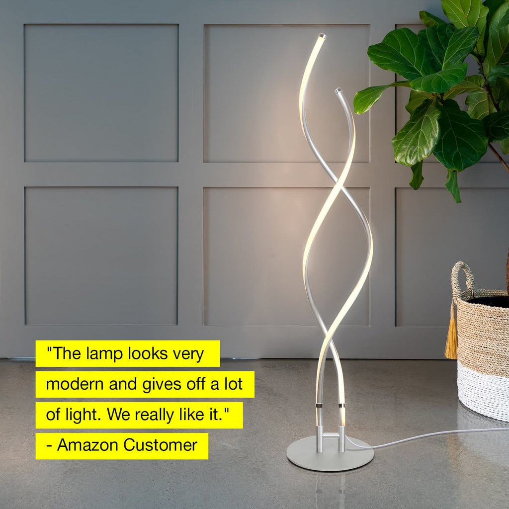 Platinum Silver Embrace – Modern, LED Floor Lamp – Dimmable, Standing Pole Light