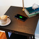 Classic Black Madison Nightstand with LED Lamp Attached - Wireless Charge, USB, End