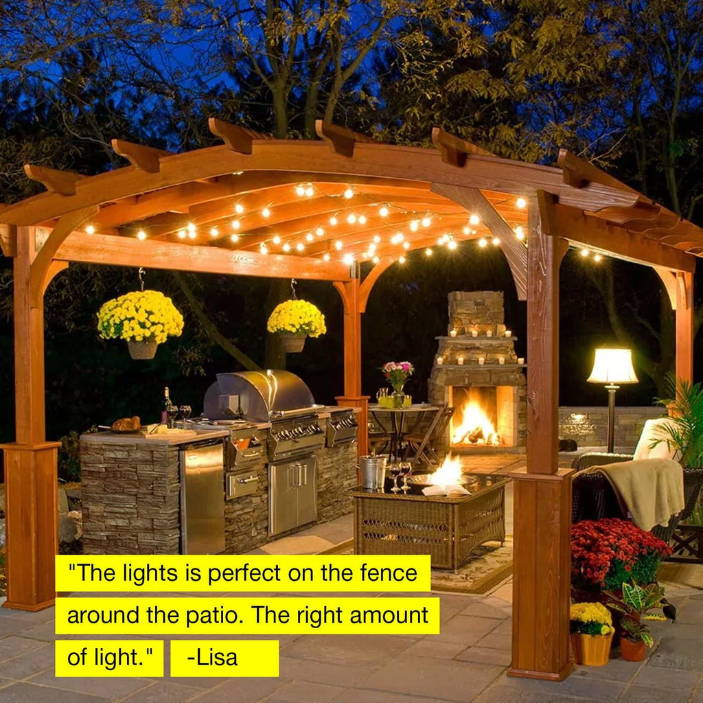 Warm White Ambience Pro - Hanging 1.5W Vintage Edison Bulbs 27 Ft Patio Lights