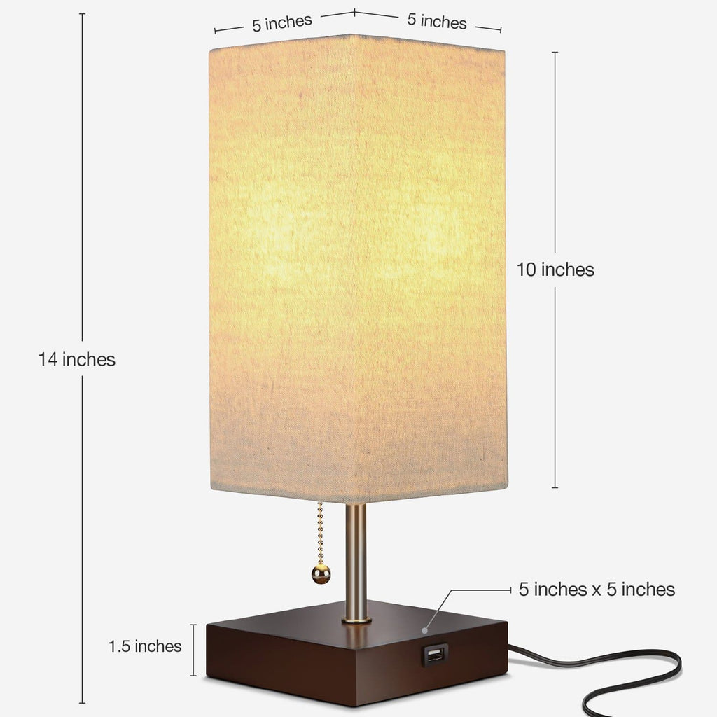 Havanah Brown Grace USB Table Light: Modern Lamp for Bedrooms and Living rooms