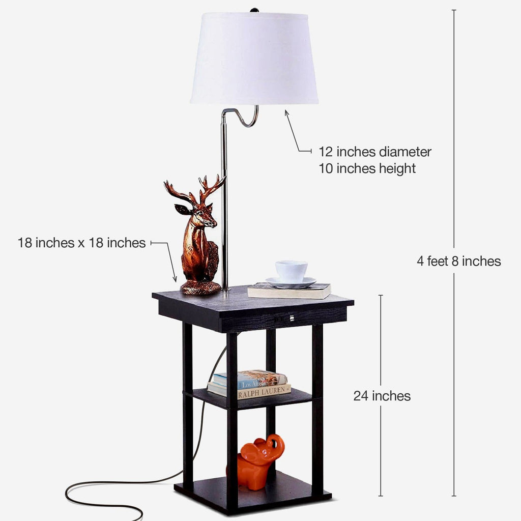Black with White Shade Madison Floor and Table Lamp: Modern Shelves and Lighting for Bedrooms