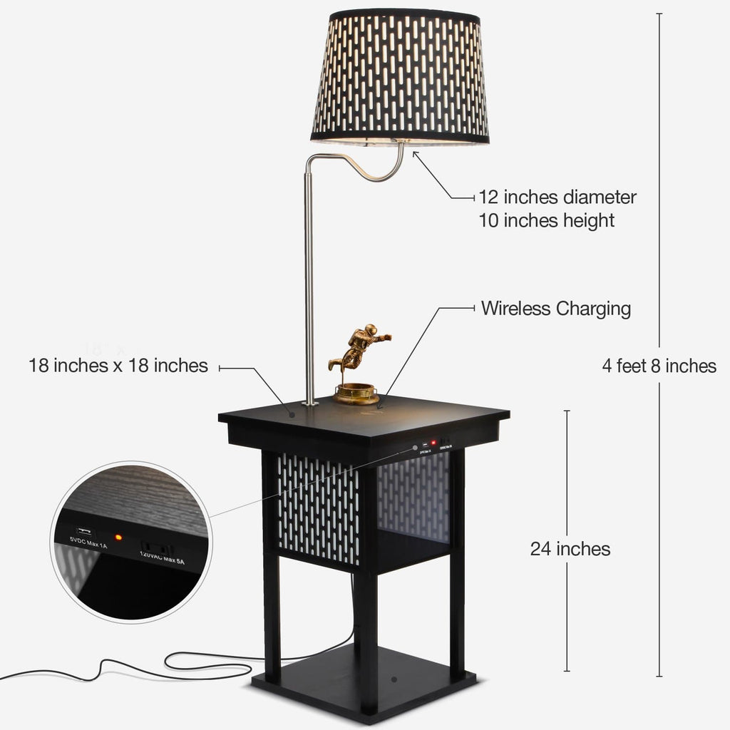 Madison Nightstand With Led Lamp Attached Wireless