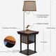 Havana Brown Madison Nightstand with LED Lamp Attached - Wireless Charge, USB, End