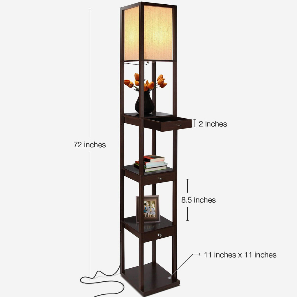 Havana Brown Maxwell Drawer Floor Lamp: Tall Freestanding Shelf Light Soft Ambience