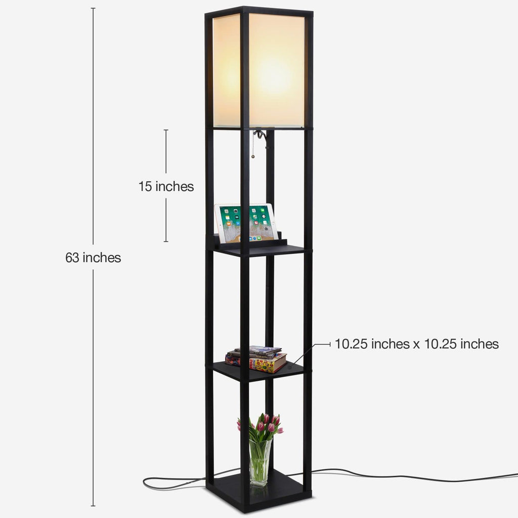 Classic Black Maxwell - Wireless Charging Edition - LED Shelf Floor Lamp for Living
