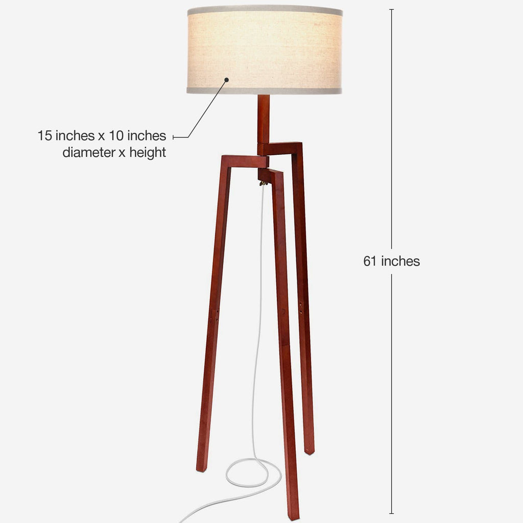 Havana Brown Mia LED Floor Lamp: Modern Tripod Tall Freestanding for Living Room
