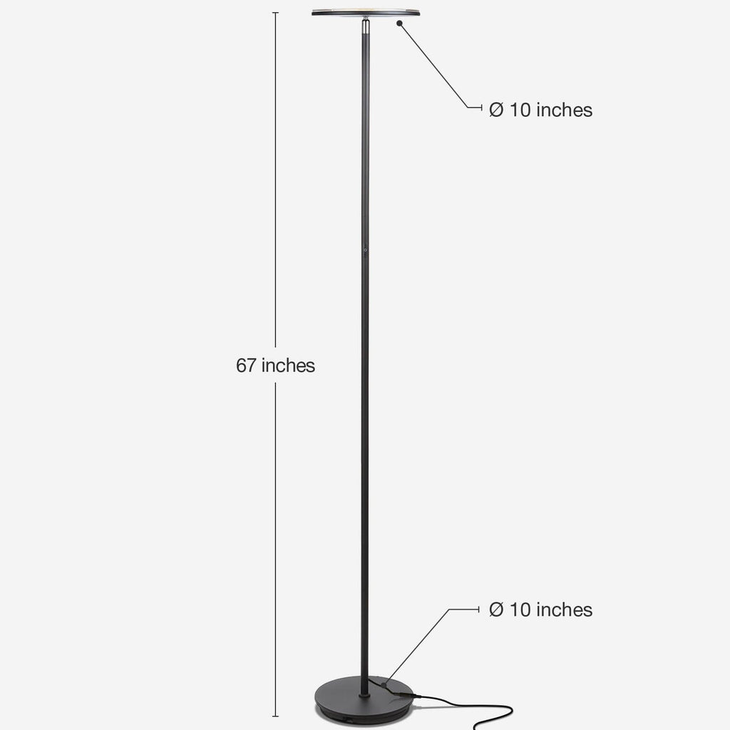 Jet Black SKY Flux LED Torchiere Floor Lamp Living Room & Office, Light Dimmabl