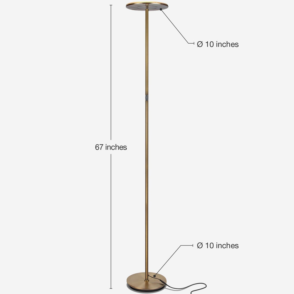 Brass SKY Flux LED Torchiere Floor Lamp Living Room & Office, Light Dimmabl