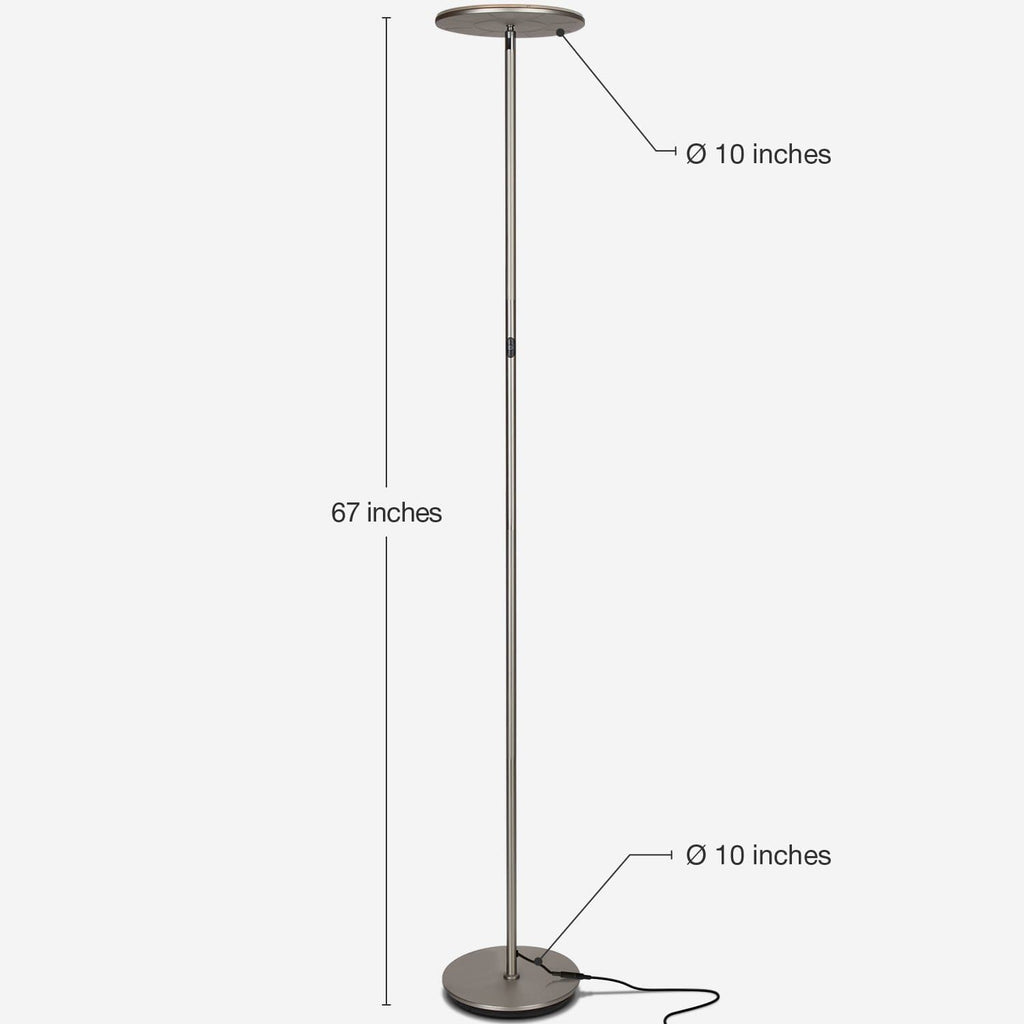 Brushed Nickel SKY Flux LED Torchiere Floor Lamp Living Room & Office, Light Dimmabl