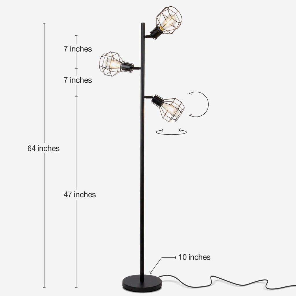 Robin Tree LED Floor Lamp – Industrial Modern Metal Cage Lantern Shade - Black Robin Tree LED Floor Lamp – Industrial Modern Metal Cage Lantern Shade