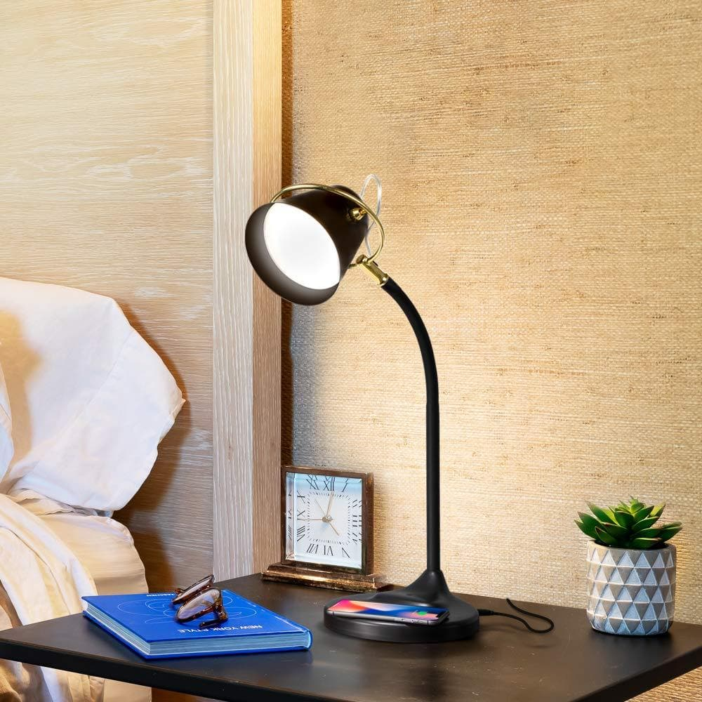 Black Zoey - LED Desk Lamp with Wireless Charging Pad and USB Port