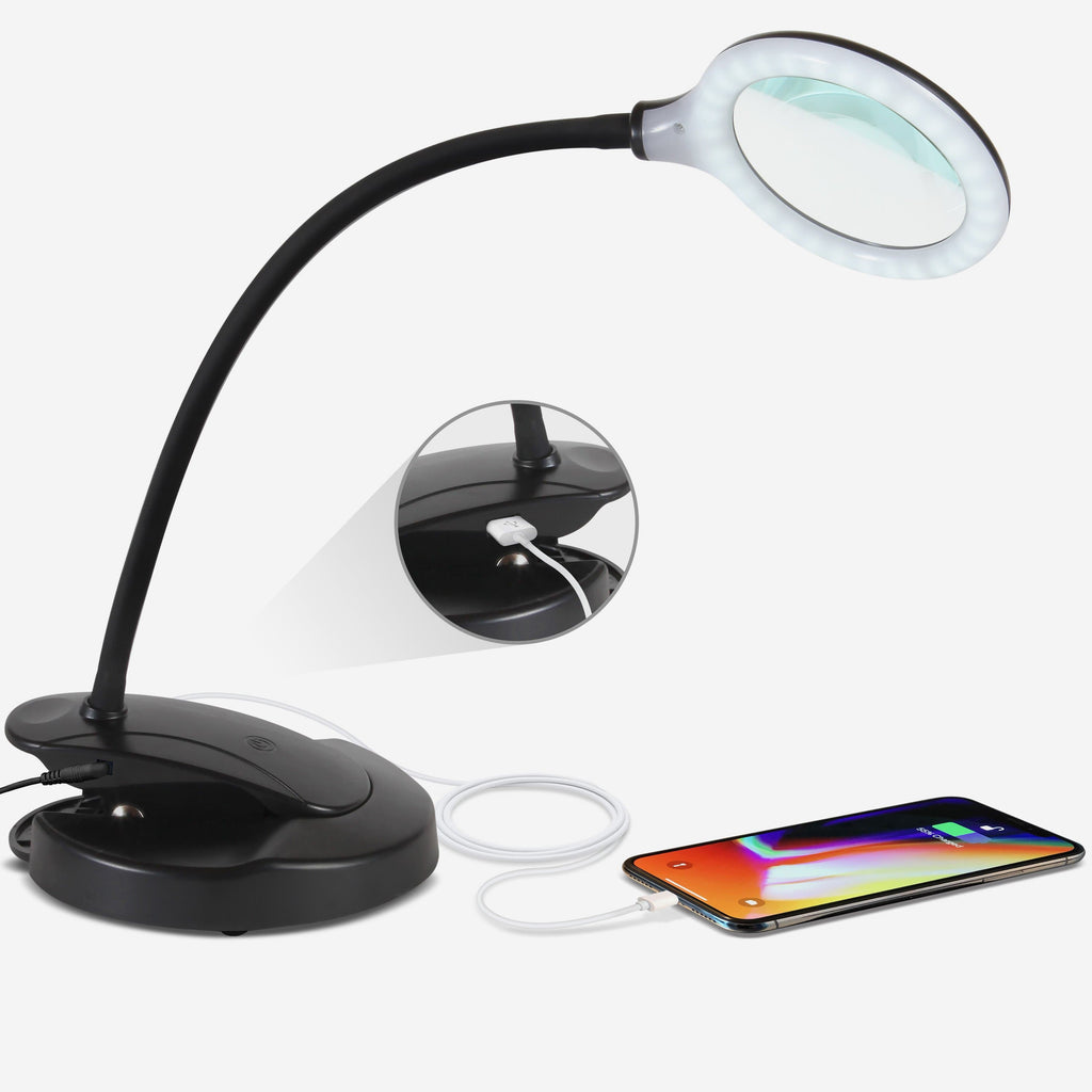 Black LED Magnifying Lamp with USB Charging Port - Lightview Pro 2-in-1