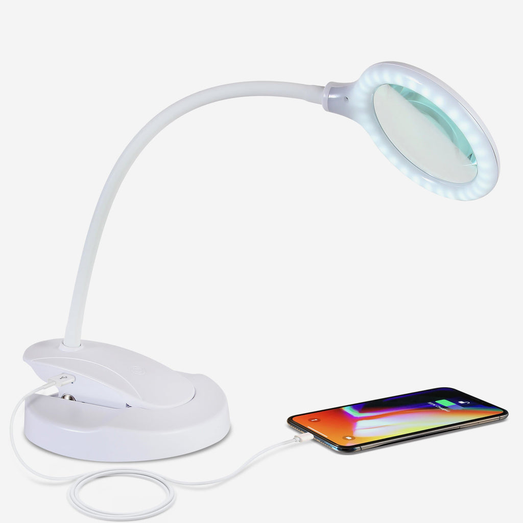 White LED Magnifying Lamp with USB Charging Port - Lightview Pro 2-in-1