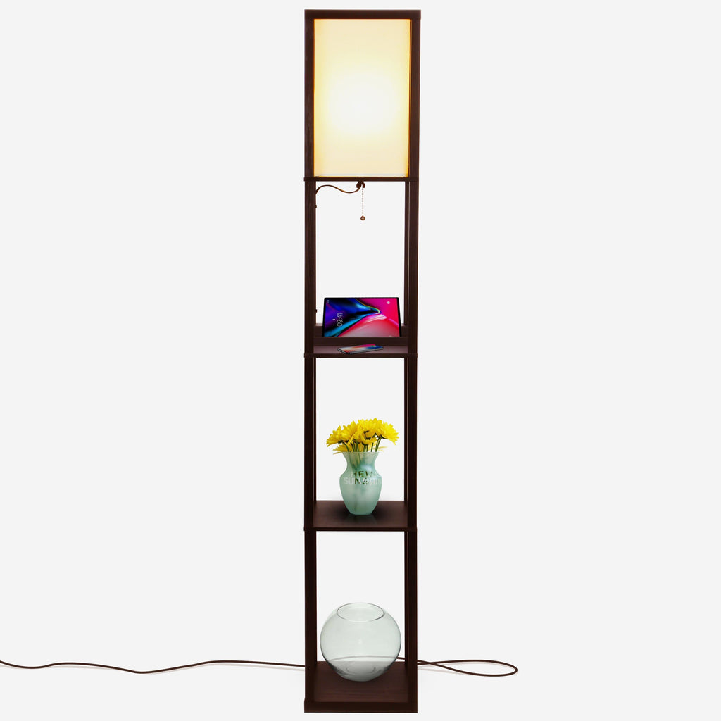 Havana Brown Maxwell - Wireless Charging Edition - LED Shelf Floor Lamp for Living