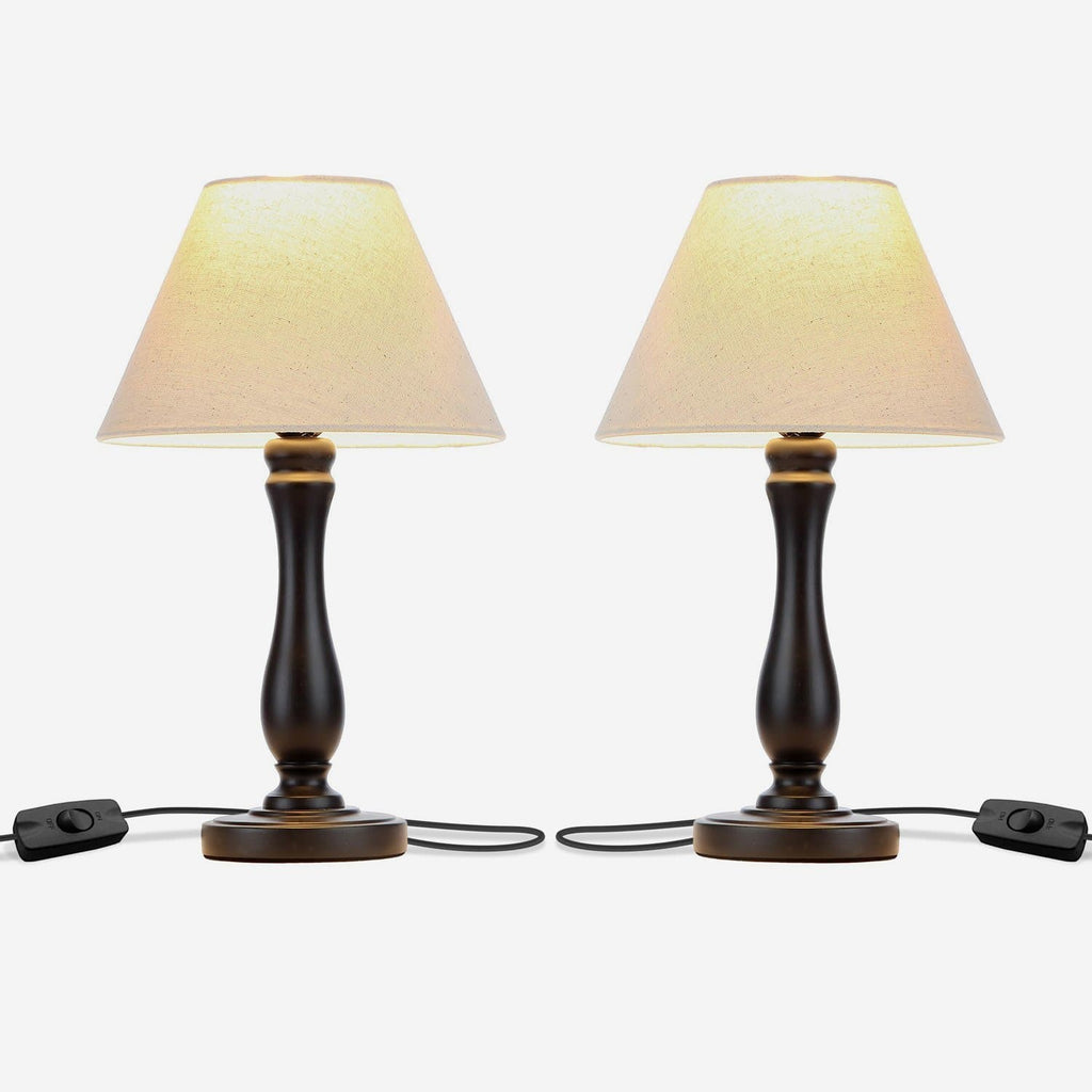 Noah LED Side Bedside Table & Desk Lamp Twin Pack: Traditional Black Wood Base Noah Bedside Table & Desk Lamp Twin Pack